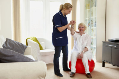 Senior woman doing physical therapy